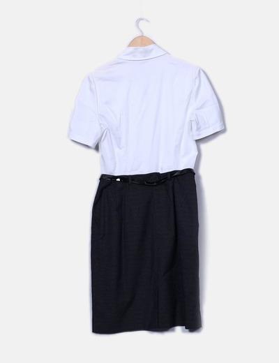 Vestido combinado detalle cinturon