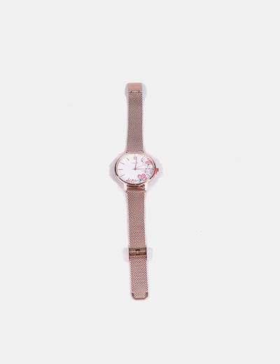 Reloj metalizado con print floral