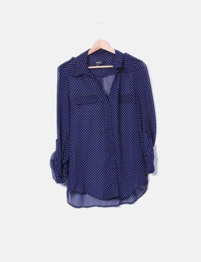 Camisa semitransparente con topos Suiteblanco