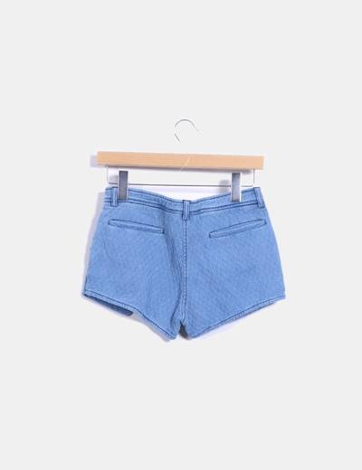 Shorts texturizado azul con cremalleras