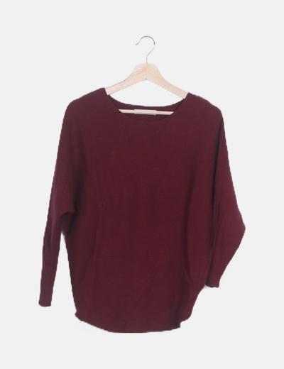 Suéter granate canalé manga larga