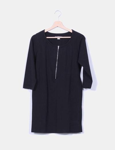 Vestido negro detalle cremallera URBAN