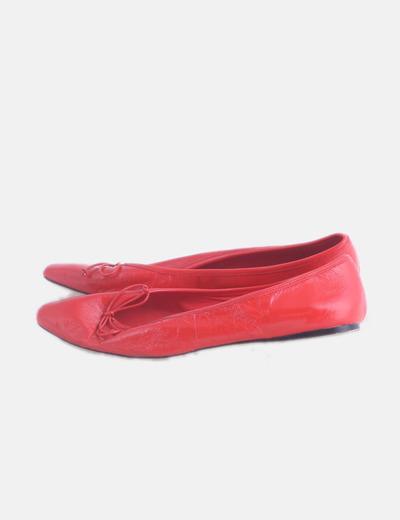 Bailarina punta charol rojo