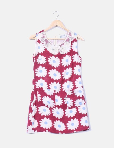 Vestido floral combinado Minueto