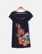 Vestido negro de paño con botones multicolor Yumi