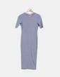 Maxi vestido gris de canalé Pull&Bear