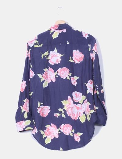 Camisa floral tail hem