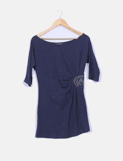 Vestido  azul marino manga frances, detalle tachas Clp