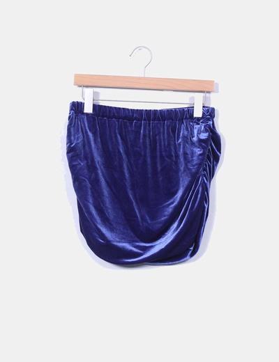 Mini falda azul klein de terciopelo NoName