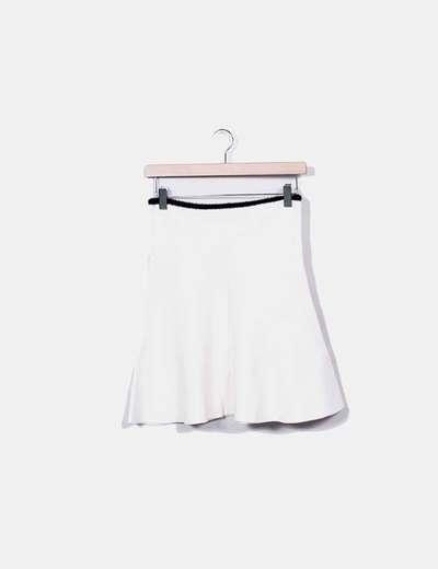 Falda tricot evasé blanca Zara