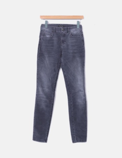 Pantalón pitillo pana gris oscuro