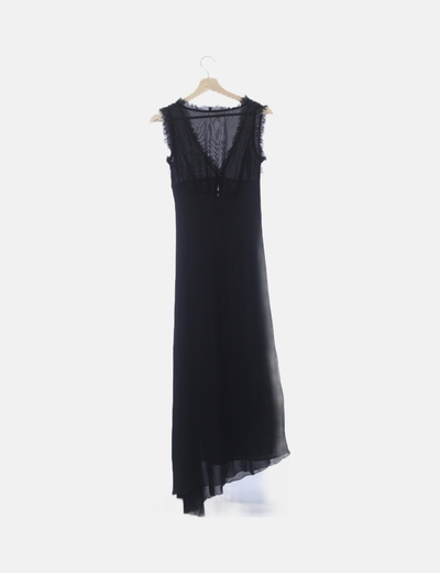 Vestido Negro Largo Asimétrico