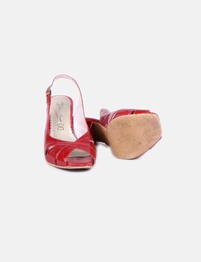 Sandalia de tacon roja