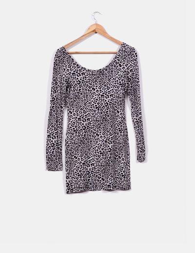 Vestido gris print leopardo