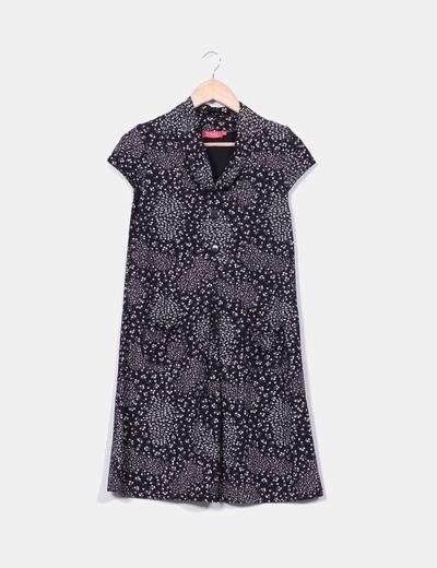 Vestido negro estampado floral Yoel