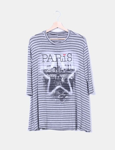Top gris de rayas print paris