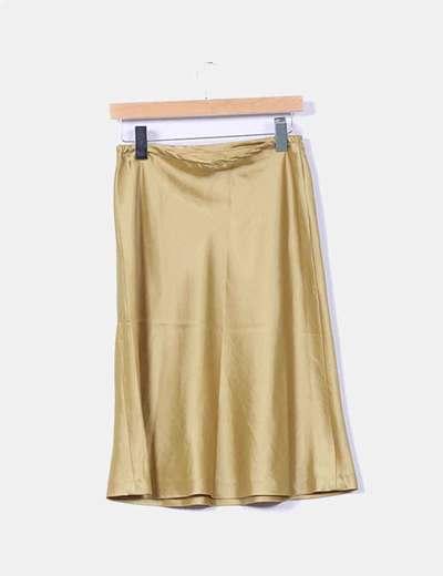 Falda midi verde satinada