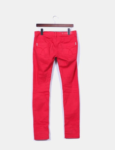 Pantalon denim rojo