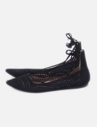Bailarinas negras caladas lace up