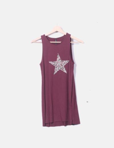 Camiseta fluida granate estrella