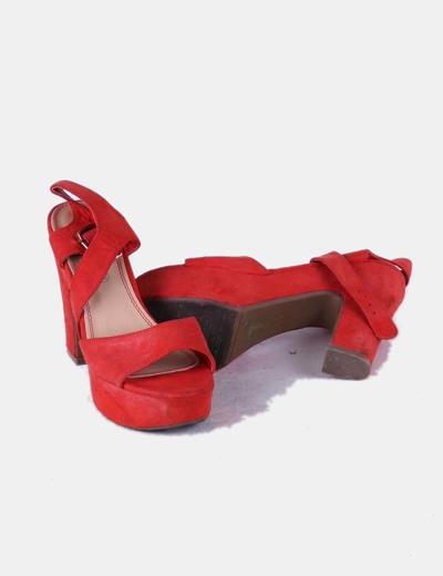 Sandalia de tacon de ante rojo