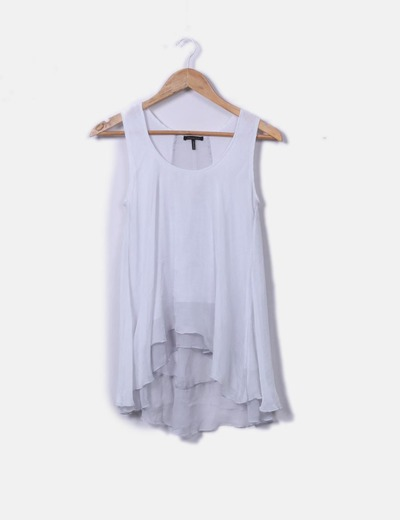 Blouse with gray gauze straps Massimo Dutti
