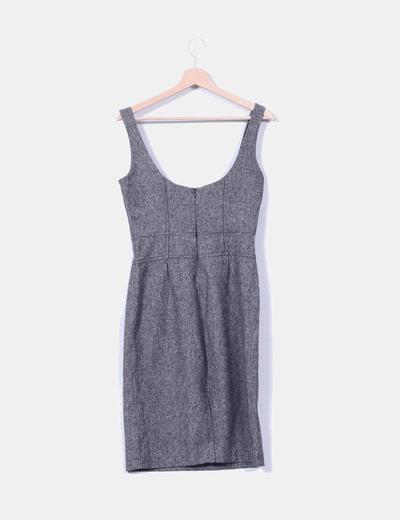 Vestido mini gris jaspeado