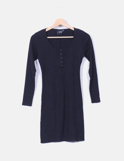 Vestido negro escote abotonado Asos