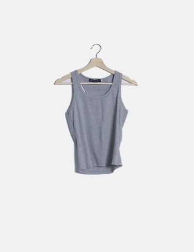 Camiseta gris canalé tirantes