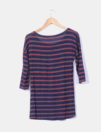 Camiseta azul marino de rayas