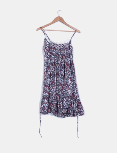 Vestido floral detalles crochet semitransparente