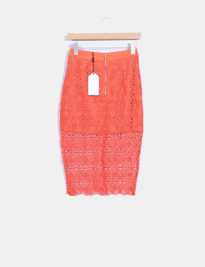 Falda midi naranja de crochet