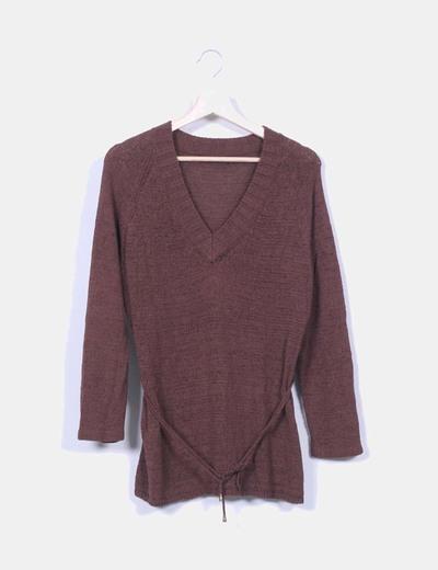 Jersey marrón cuello pico Jonquet