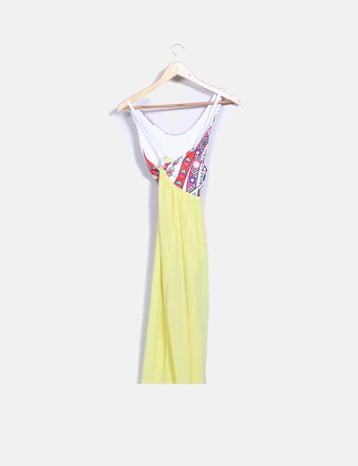 Vestido maxi amarillo con estampado multicolor