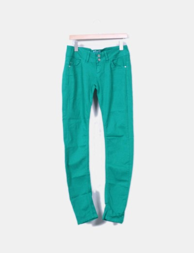 Jeans denim pitillo verde