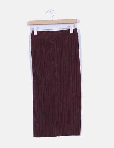 Falda larga burdeos texturizada Zara