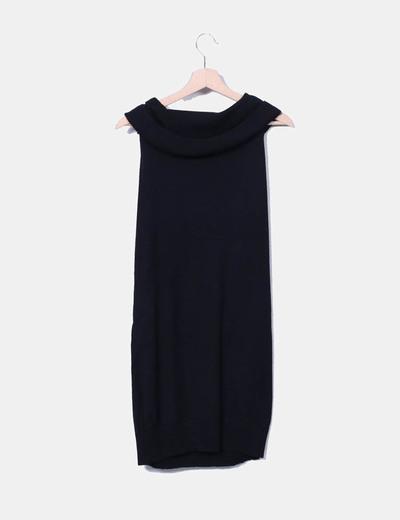 Vestido de punto negro manga sisa