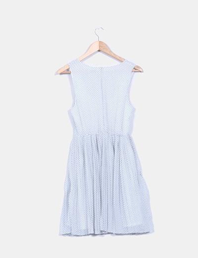 Vestido blanco tablas estampado topos