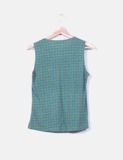 Camiseta pata de gallo verde y azul