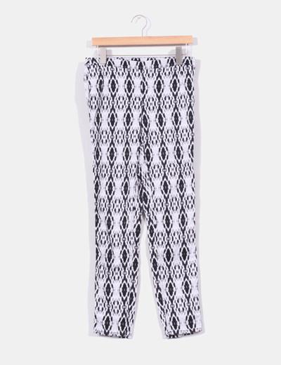 Pantalón blanco estampado con cremallera lateral H&M