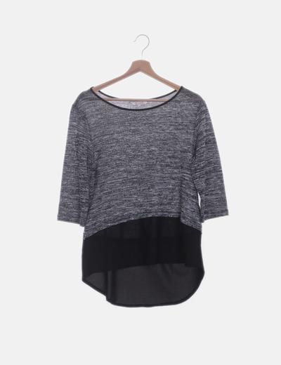 Camiseta gris jaspeada combinada