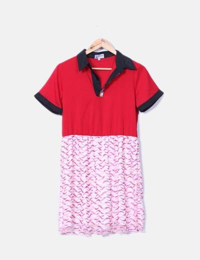 Vestido doble textura escote pedrería