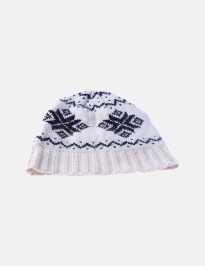 Gorro beige tricot estampado