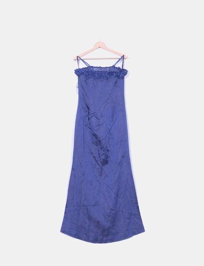 Vestido maxi raso azul marino escote drapeado CeDosCE