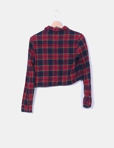Camisa corta franela de cuadros