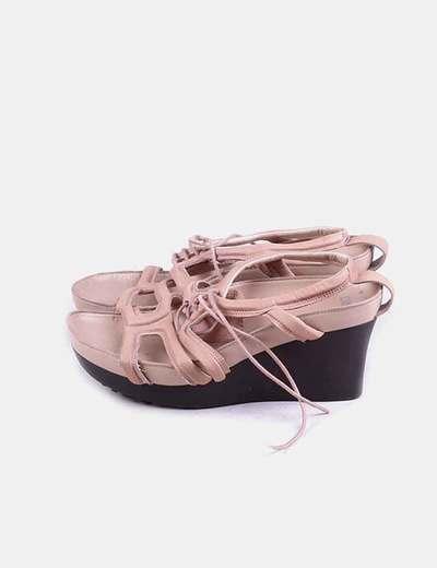 Sandalia tacón rosa palo