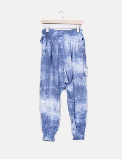 Pantalón baggy azul efecto degastado Polita