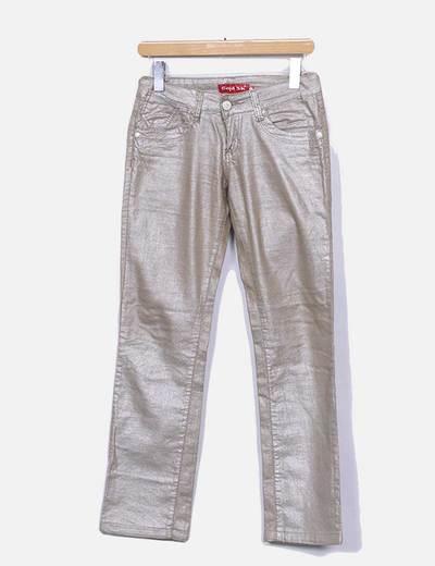 Pantalon gliter droit Gold