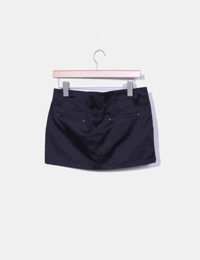Mini falda saten negro