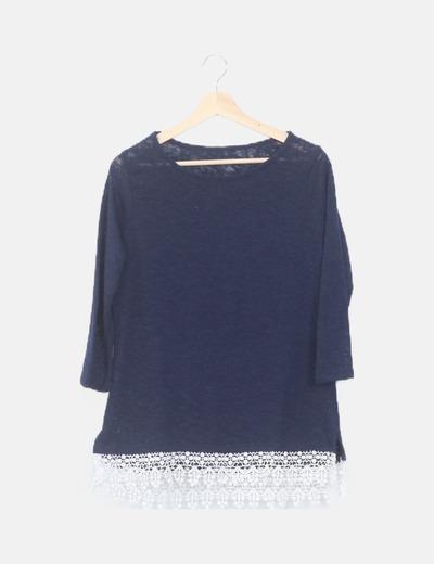 Camiseta tricot combinada larga
